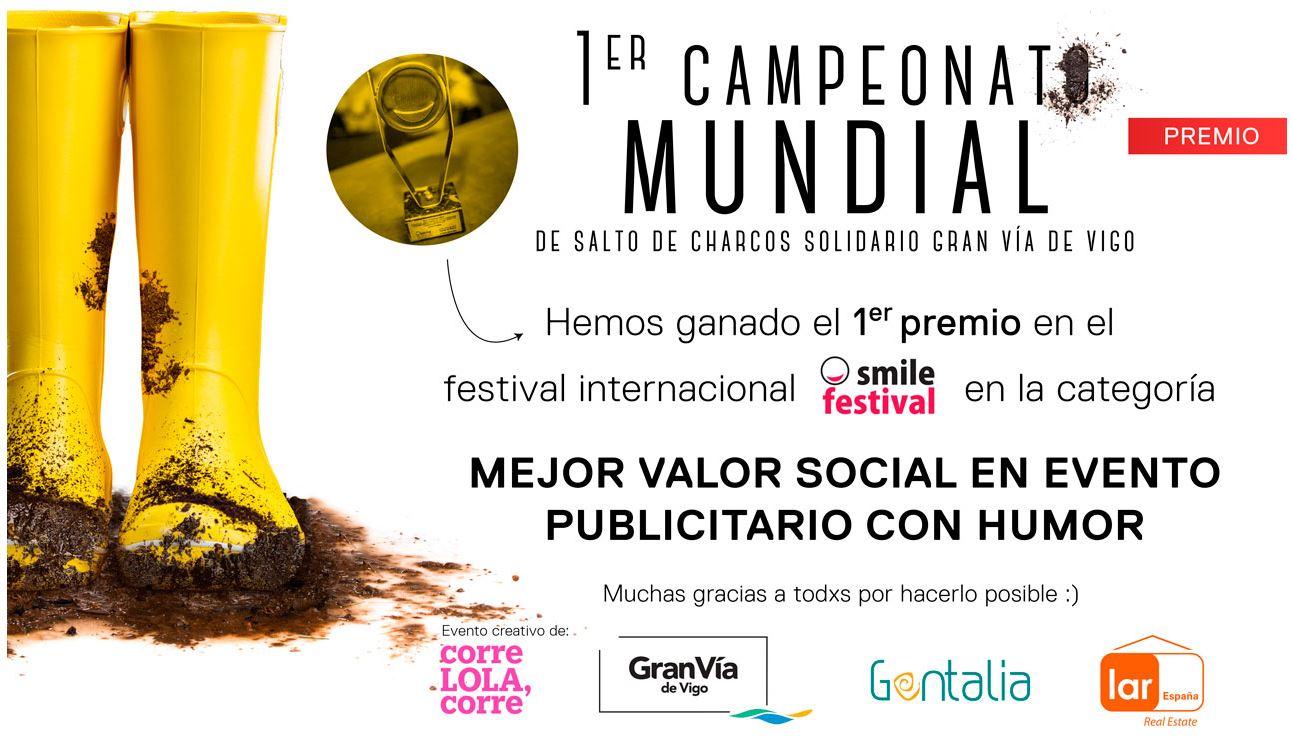 El Primer Campeonato Mundial de Salto de Charcos solidario Gran Vía de Vigo galardonado con un premio en el Smile Festival