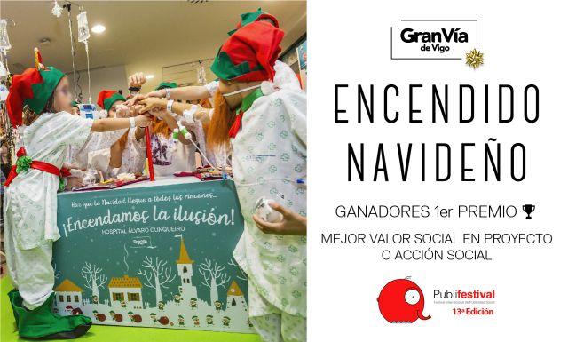 El Encendido Navideño solidario del Gran Vía de Vigo es galardonado con un premio en el Publifestival