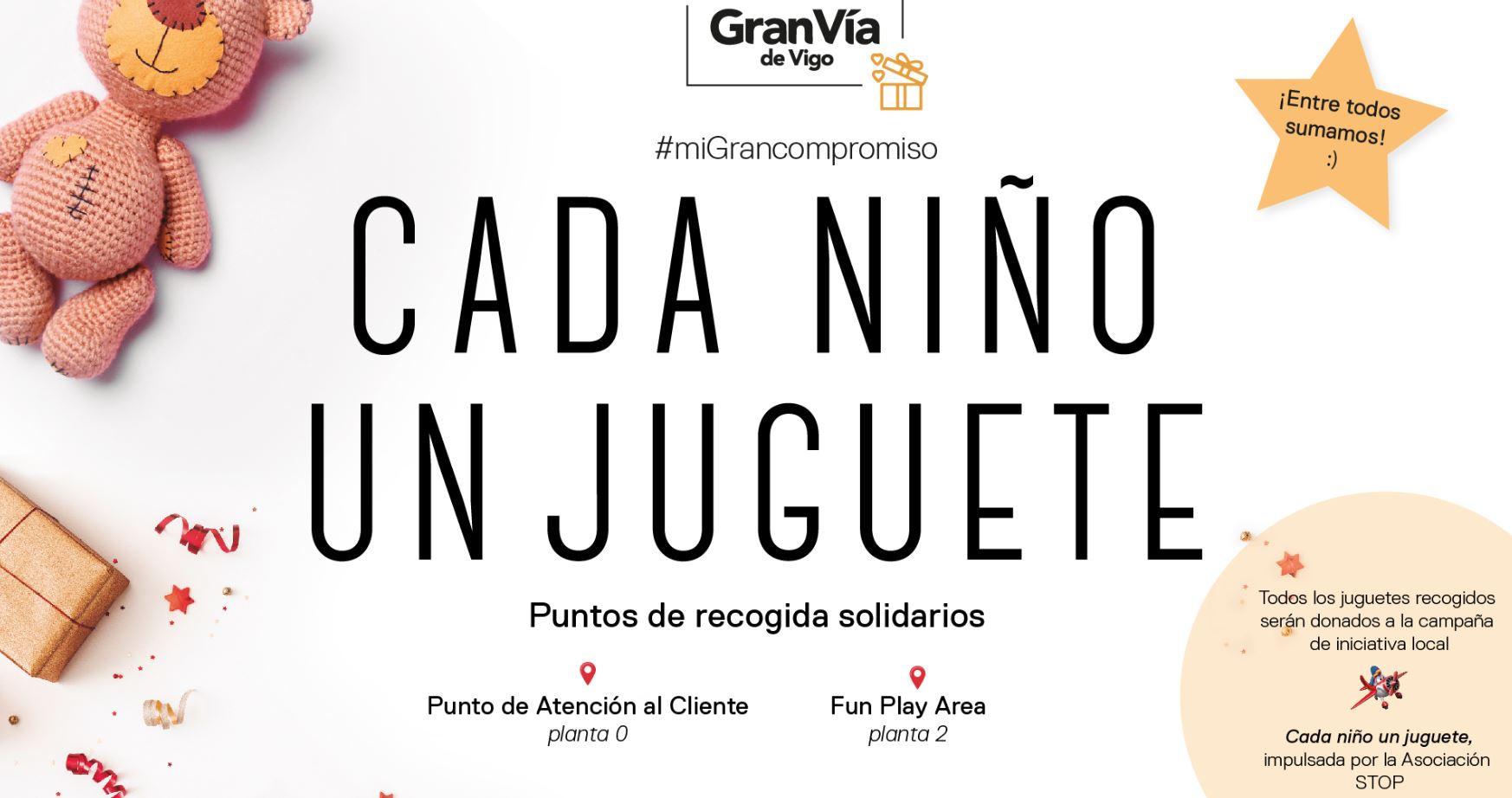 Gran Vía de Vigo vuelve a sumarse a la iniciativa local «Cada niño un juguete»
